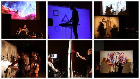 Collage from the performance of Mondgewächse. Musicians, artists and big screens with colourful art on a stage. Dramatic stage lighting.