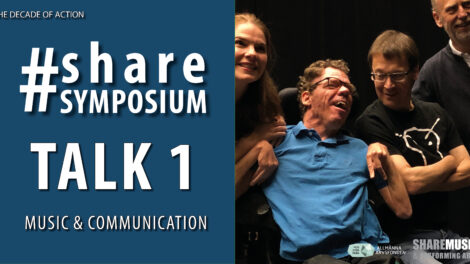 "A graphic image with white text on dark blue. It says ""#sharesymposium, Talk 1, Music & Communication."" There is also a photo of four smiling people from an artistic lab."